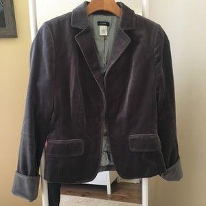 J. Crew Gray Velvet Blazer Jacket